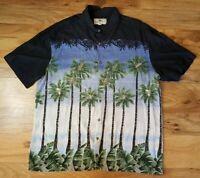 Island Shores Men Palm Trees Hawaiian Camp Black Casual Button Shirt XL