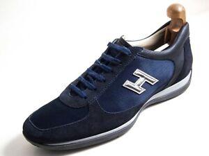 Hogan Sneakers Blue Suede Canvas Men Size US 11.5 EU 44.5