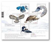 OWL = FALCON = OSPREY = BLUE JAY= LOON =Souvenir sheet of 5 Birds of Canada 2017