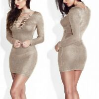 Womens Sexy Sheer Bodycon Dress Lace Up Pencil Skirts Long Sleeves Dresses Gown