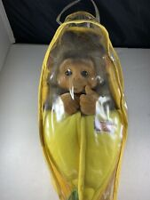 Little Monkey Lost Puppet Plush Stuffed Brown Animal Yellow Banana Carrier 12""