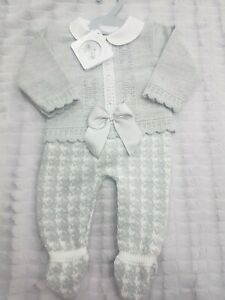 My Little Chick Grey 2 pc top and pants set, knitted Spanish Outfit baby girl