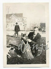 Boston Terrier held on a Tree Stump watches Dog walking into frame* 1937 Photo