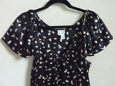 $365 Tracy Reese Blouse Top Black Short sleeve 100% Silk sz S 6 8 Anthropologie