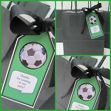 5 x Personalised FOOTBALL THEMED Party Bag tags GIFT TAGS PARTY BAG LABELS