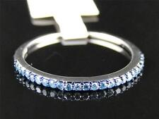 New Ladies 10K White Gold Blue Diamond Prong Fashion Wedding Ring Band .21 Ct