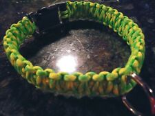 "Dog Collar, Handmade Paracord Strong Neon Dog Collar-U.S.A.  Made! 14"""