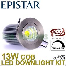 Led Dimmable Downlight Complete Kit Ceiling Bulb COB 13W Warm White Chrome Cover