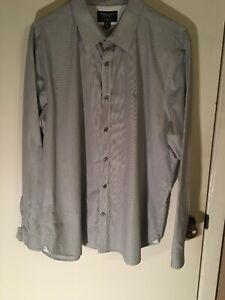 Men's American Eagle Grey Pinstripe Dress Shirt Size XXL Slim Fit!