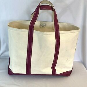 LL Bean Large Boat and Tote Bag White Red Strap USA Made Freeport Maine