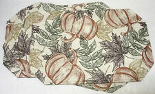"""Thanksgiving Placemats 12"""" x 18"""" Set of 4 Fall Pumpkins Leaves"""