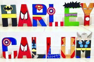 Childrens Wall Art letters names.Marvel Superhero Avengers Spider-Man batman