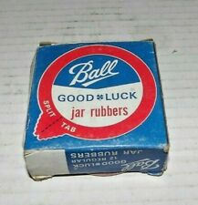 Vtg Box of 12 Red Rubber Ball Good Luck Canning Jar Split Tab rings. Unused