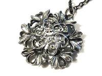 Bijou alliage argenté collier pendentif rosace sur chaine  necklace