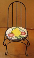 "14.5"" Metal Doll Chair or Plant Stand ~ Ceramic & Metal ~ Fruit Design"