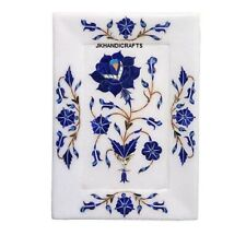 """5"""" x 7"""" Marble Beautiful Lapis Lazuli  Floral Inlay Serving Tray For your Home"""