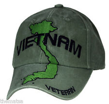 VIETNAM MAP VETERAN OD OLIVE  MILITARY HAT CAP