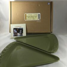 New Longaberger Pottery Woven Traditions Sage Green Pizza Plates Set of 2