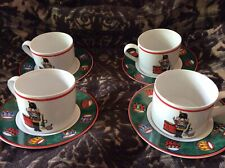Bob Timberlake Holiday Spirit (4) Cups And Saucers (Nutcracker) Christmas Ware