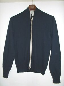 Men's - Boggi  Milano Wool / Cashmere Blend Navy Blue Full Zip Jumper Pullover L