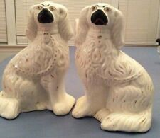 Pair White Staffordshire Dogs Figurines, Seated