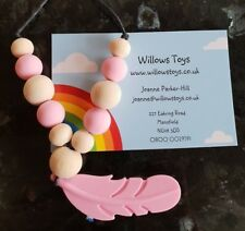 Pink Silicone Feather Teething Necklace with Silicone and Wooden Beads Uk Seller