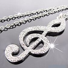 Music Note Silver Coloured Pendant Long Chain Necklace (N093)