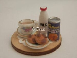 Dolls house food: Bedtime cocoa and cookies set  -By Fran