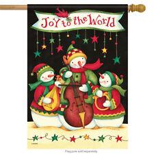 """Musical Snowman Christmas House Flag Snow Joy Holiday Stars 28"""" x 40"""""""