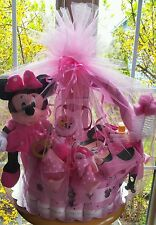Minnie Mouse Theme Diaper Cake Gift  Basket- Made To Order For A Girl Or Boy