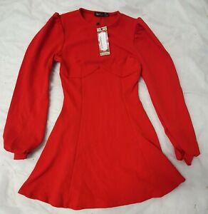 BOOHOO red bust detail blouson  sleeve SKATER DRESS SIZE 10