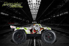 """ARRMA OUTCAST GRAPHICS DECALS """"STIFF UPPER LIP"""" PALE GREEN / WHITE FITS OEM BODY"""