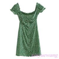 Green Floral Polka Dot Midi Dress Womens Short Bubble Sleeve Summer Beach Dress