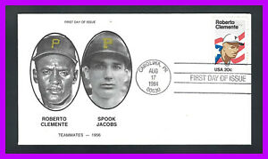 ROBERTO CLEMENTE: with SPOOK JACOBS - 1st day cover for Clemente stamp SC# 2097