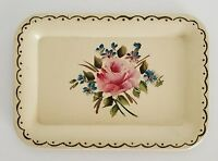 Vintage Small Metal Dresser Tray Painted Roses Flowers Beige