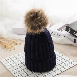 Bobble Hat Womens Ladies Winter Knitted Pom Pom Hat Ski Beanie