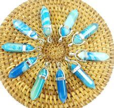 10PC Wholesale stripe agate Hexagonal Point Pendant Gemston Jewelry Necklace