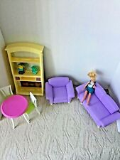 Dollhouse Furniture- Mattel Purple Couch Sofa & chair, Dinner set,  Book Shell
