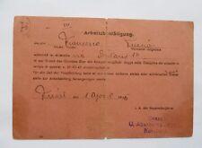 TESSERA TRIESTE OCCUPAZIONE TEDESCA 1° APRILE 1945 RSI REPUBBLICA SOCIALE GUERRA