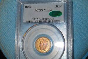 1866 3 CENT PCGS MS64 CAC! EPIC THREE CENT!