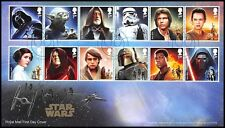 Great Britain Star Wars The Force Awakens First Day Cover Characters Stamp, 2015
