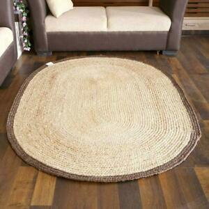 Rug 100% Natural Jute Braided style Area Carpet Rug handmade Modern Oval Rug