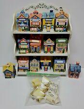 VINTAGE AVON CERAMIC SPICE JARS AND RACK SET 12 COTTAGES & HOUSES + SALT PEPPER