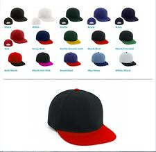 EXHIBIT FLAT PEAK HAT WITH PLASTIC SNAP BACK - BULK BUYS IN 25 UNITS