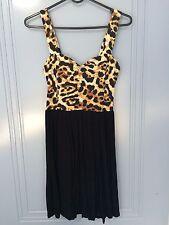 Motel Rocks soheila black leopard natural cut out dress size s 6 8