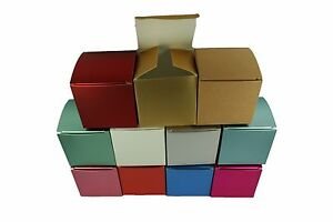 """SET of 10 fold-up Favor Paper Gift boxes 2"""" x 2"""" x 2"""" Cube"""