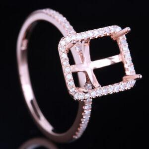 14K Gold Rose Diamond Jewelry 9x7MM Emerald Cut Semi Mount Engagement Fine Ring