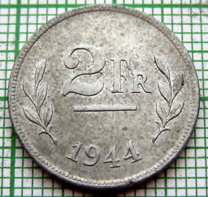BELGIUM 1944 2 FRANCS, WWII Allied Occupation Coinage