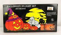 Vintage NOS Jack-o'-Lantern Halloween Blow Mold 10 String Light Set NEW
