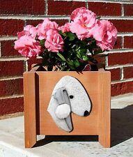 Bedlington Terrier Planter Flower Pot Blue